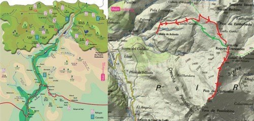 mapas Valle de Bensaque - nieve en Benasque