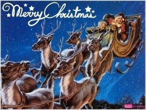Santa-Claus-And-Reindeers-Wallpaper-free, imagen navideña