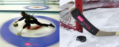 Practicar deportes de invierno curling y hockey