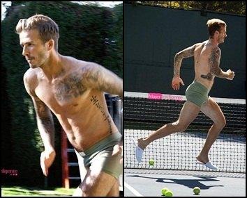 David Beckham en calzoncillos  a la carrera