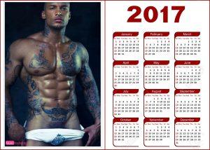 Negro sexy tatuado en calendario 2017