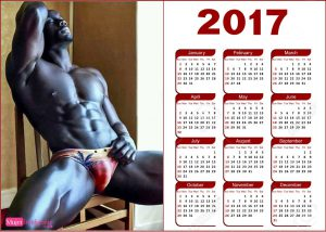 calendario 2017 con hombre negro desnudo provocativo y sexy