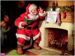 santa-claus-en -la -chimenea-imagen-navideña, dibujo de papá noel